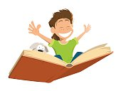 Vector character illustration of happy smile kid boy child flying on a big open book with cute puppy
