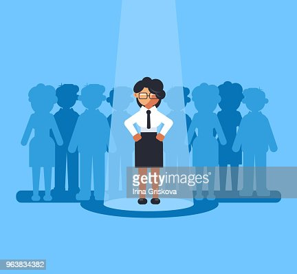 Happy smiling business woman businesspeople office worker manager person job candidate selected choose. Recruitment hunter hire hr human resources career staff concept. Vector flat cartoon graphic design isolated illustration : stock vector