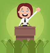 Happy smiling businessman office worker politician woman character speaking from rostrum. Vector flat cartoon illustration