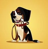 Happy smiling dog character hold leash in mouth. Vector flat cartoon illustration