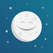month smile, in the sky filled with night stars vector illustration