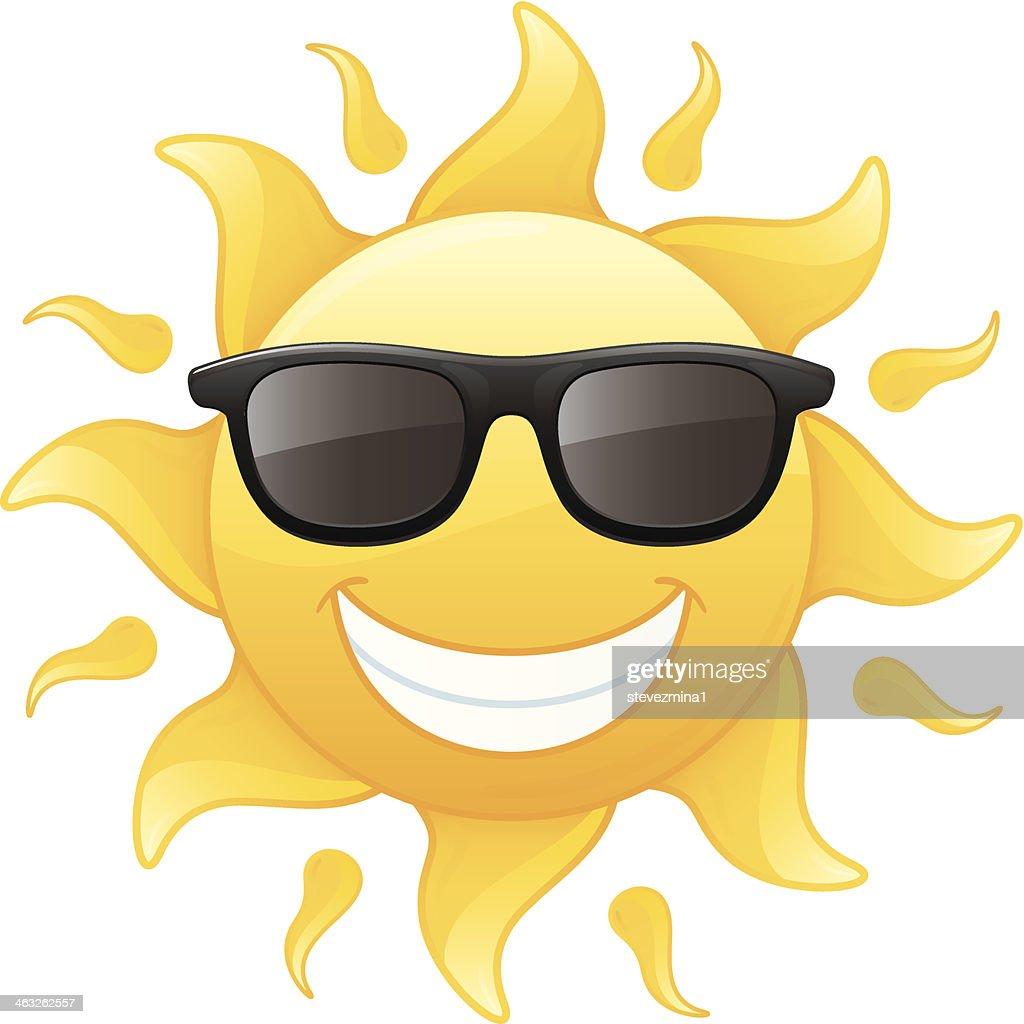 Happy Smiling Radiant Yellow Summer Sun Wearing Sunglasses ...