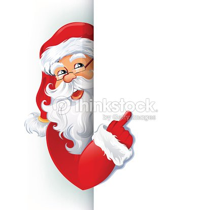 happy smiling santa claus showing on big blank sign vector art
