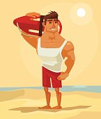 Happy smiling sea lifeguard man character mascot. Vector flat cartoon illustration