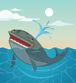 Happy smiling whale character. Vector flat cartoon illustration