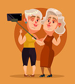 Happy smiling woman grandma characters making selfie. Vector flat cartoon illustration