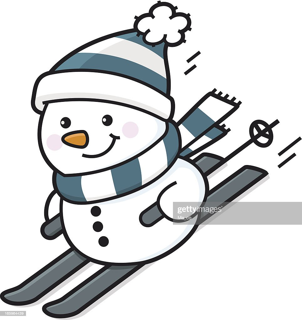 Snowmen Skiing Sledding And Snowboarding Vector Art | Getty Images