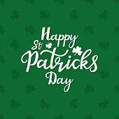 Happy St. Patrick's Day banner with trefoil. Shamrock seamless pattern
