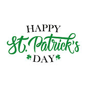 Happy St. Patrick's Day handwritten lettering. Template for greeting cards and invitations. Vector illustration.