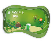 Happy St. Patrick's day with copy space, paper art style, vector illustration.