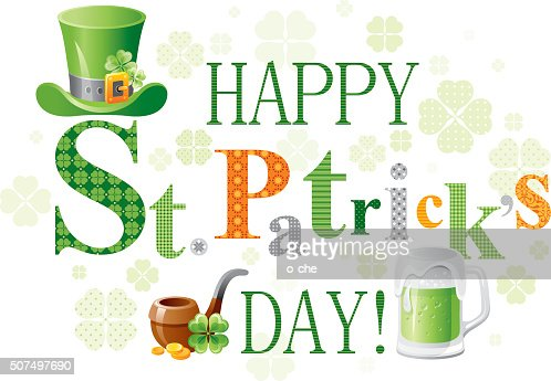 Happy St Patricks Day With Leprechauns Hat Ale And Pipe Vector Art ...