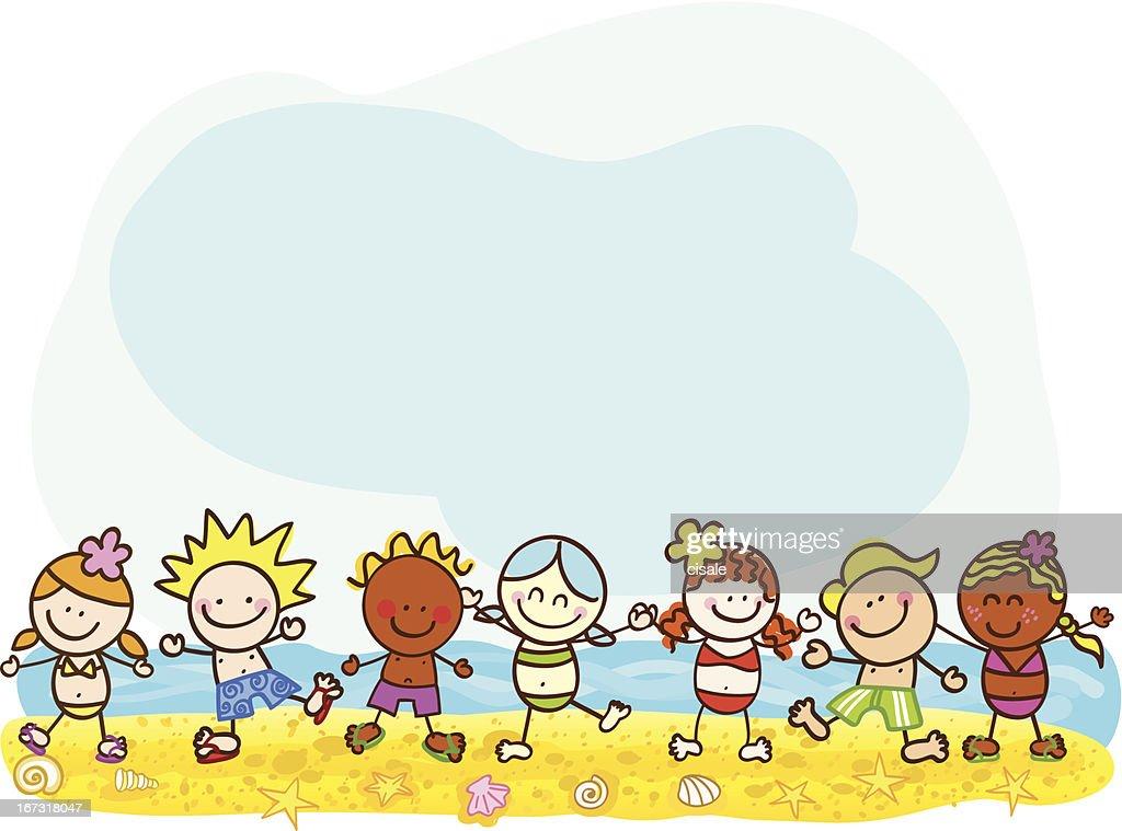happy summer kids at beach vector cartoon illustration : Vector Art