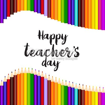 Happy teachers day greeting card with hand written text vector happy teachers day greeting card with hand written text vector m4hsunfo
