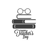 Happy teachers day icon. Glasses and book logo on white background 8 eps
