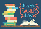 Happy Teacher's Day. Stack of colorful books with open book on dark blue background with hand lettering. Vector illustration.