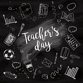 Happy Teacher's day - unique handdrawn poster with school white lined essentials on blackboard. Vector art. Great typography design elements for congratulation cards, banners and flyers.