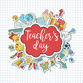 Happy Teacher's day - unique handdrawn typography poster with school sticker style essentials on lined paper. Vector art. Great design element for congratulation cards, banners and flyers.