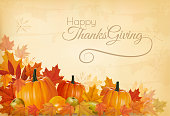 Happy Thanksgiving Background with colorful leaves and old paper. Vector.