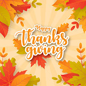 Happy thanksgiving background with leaves. Can be used for poster, banner, flyer, invitation, website or greeting card. Vector illustration