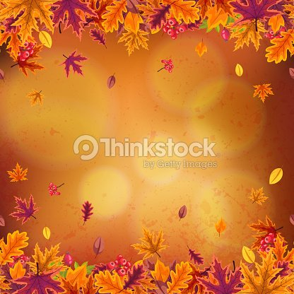 Happy Thanksgiving background with leaves of different autumn trees and berries. : stock vector
