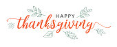 Happy Thanksgiving Calligraphy Text with Illustrated Green Leaves Over White Background, Vector Typography