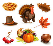 Happy Thanksgiving cartoon character and objects. 3d vector icon set