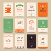 Thanksgiving poster, banner, invitation, greeting card, flyer, menu templates. Hand drawn traditional symbols, cute design elements, handwritten ink lettering, thin line icons, tribal geometric signs.
