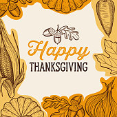 Happy thanksgiving banner with colorful autumn vegetables vector illustration poster for holiday celebration. Design background with vintage lettering and hand-drawn graphic elements.