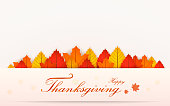 Happy Thanksgiving day banner. Autumn blur background.