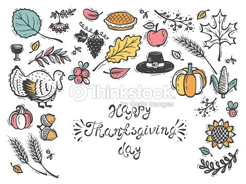 Happy thanksgiving day greeting card autumn harvest symbols fall happy thanksgiving day greeting card autumn harvest symbols fall vector collection doodle turkey m4hsunfo