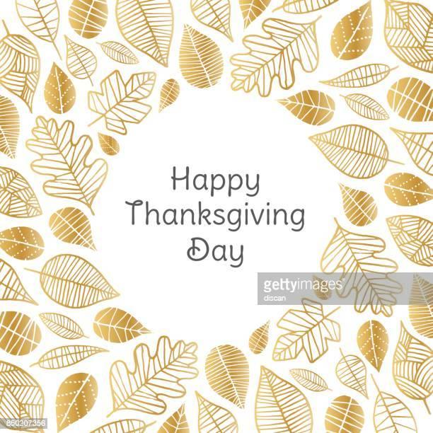 Happy Thanksgiving Day-Grußkarte mit goldenen Blättern