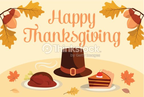Happy Thanksgiving Invitation Template Turkey Hat Cake Vector Art