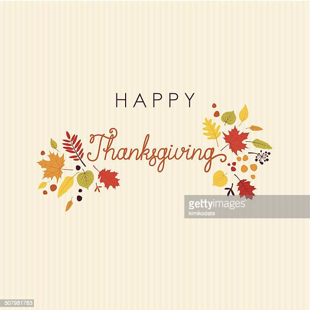 Happy Thanksgiving lettering leaves card