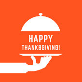 happy thanksgiving text with white serving hand. flat simple graphic cartoon design isolated on orange background. concept of yummy dinner or catering serving for american season holiday
