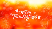 Happy Thanksgiving typography poster. Celebration text , badge. Vector calligraphy