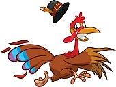 Happy turkey cartoon running. Vector cartoon