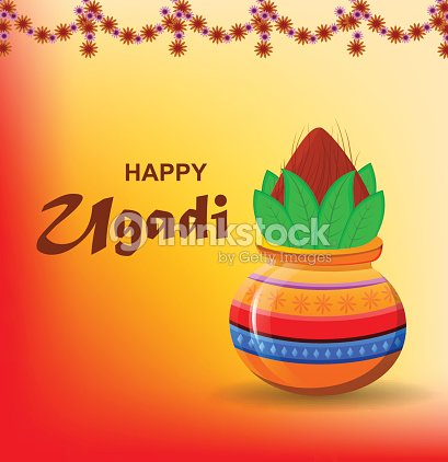 Happy ugadi and gudi padwa hindu new year greeting card for holiday happy ugadi and gudi padwa hindu new year greeting card for holiday colored pot m4hsunfo