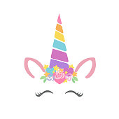 Happy unicorn face vector. Hand drawn style. Just believe. Birthday decoration theme illustration.
