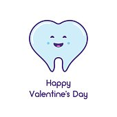 Happy Valentine's day! Card with the tooth in the shape of a heart. Vector