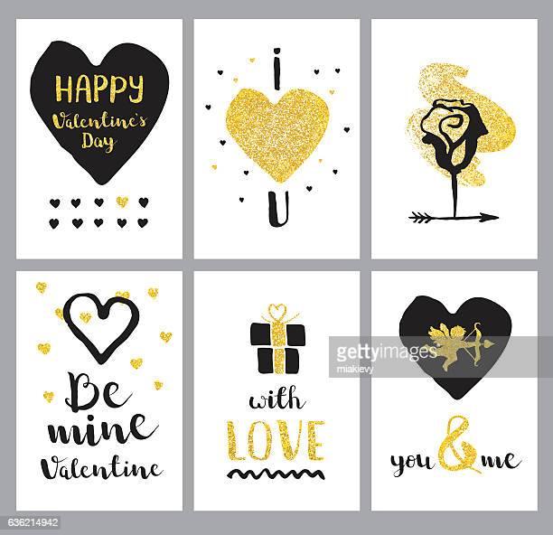 Happy Valentines Day golden set
