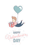 Happy Valentine's Day greeting card Cute funny boy, man boyfriend, male character flying heart shape balloon with present. Flat line design. Vector illustration.