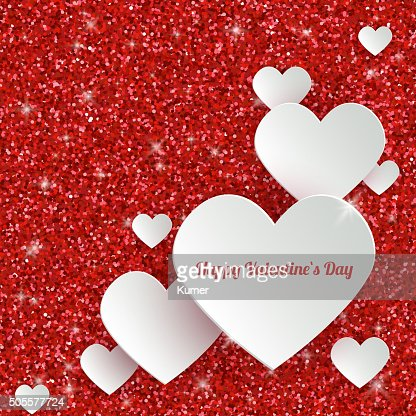 Happy Valentines Day Greeting Card With 3d White Paper Hearts Vector