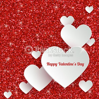 Happy valentines day greeting card with 3d white paper hearts vector happy valentines day greeting card with 3d white paper hearts vector art m4hsunfo