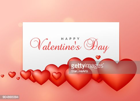 Happy Valentines Day Greeting Design With 3d Hearts Vector Art