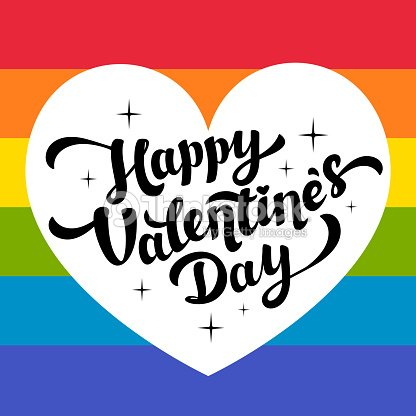 Happy Valentines Day Lettering On Rainbow Background With White