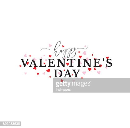 Happy Valentines Day Typography With Pink And Red Hearts Vector Art