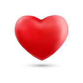 Happy valentines day with symbol 3d red heart ballon isolated on white background. Vector illustration
