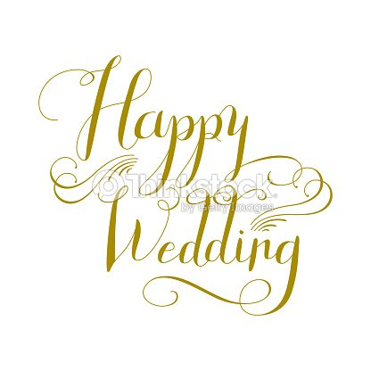 Happy Wedding Calligraphy Design Vector Art | Thinkstock