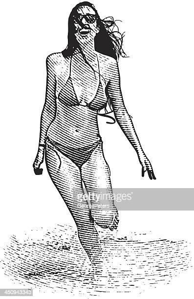 Happy Woman Running Along Beach