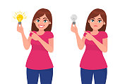 Happy woman/girl holding bright bulb and pointing index finger. Unhappy woman/girl  holding dull bulb and pointing to it. Idea, invention, innovation concept illustration in vector cartoon style.